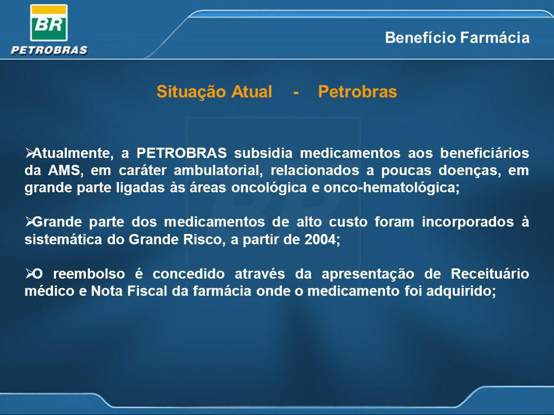 Benefício Farmácia Atualmente, a PETROBRAS subsidia medicamentos aos beneficiários da AMS, em caráter ambulatorial, relacionados a poucas doenças, em