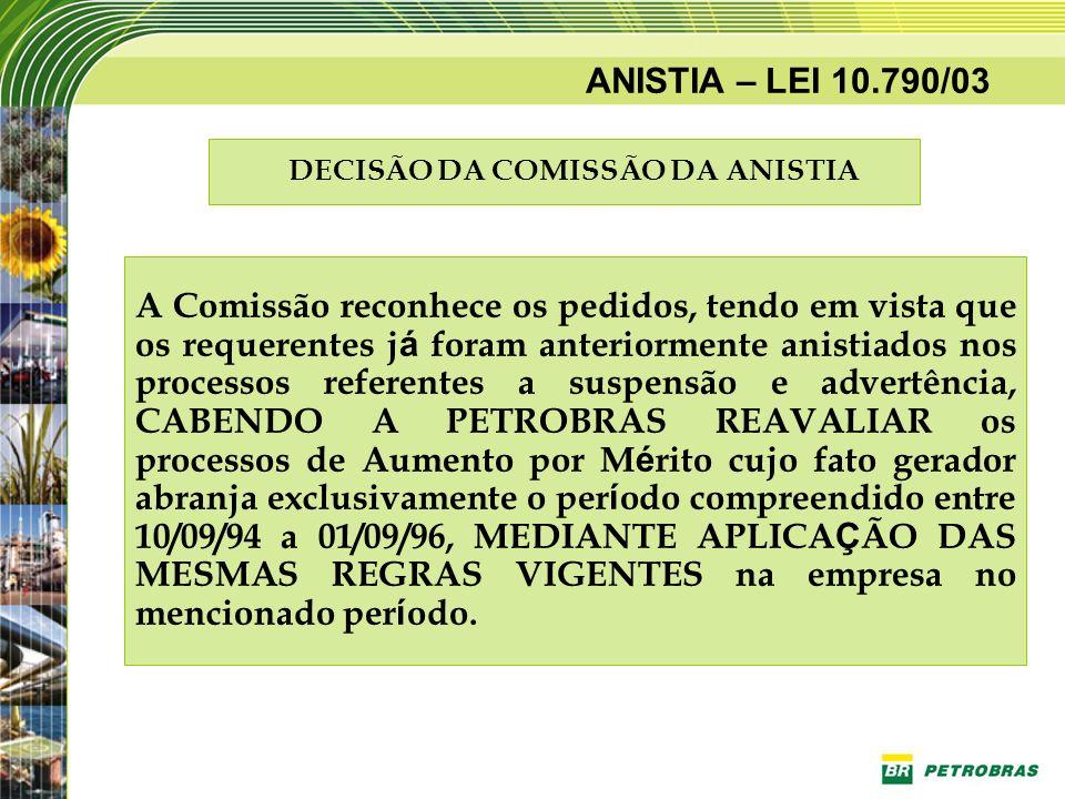ANISTIA – LEI 10.790/03 DECISÃO DA COMISSÃO DA ANISTIA A Comissão reconhece os pedidos, tendo em vista que os requerentes j á foram anteriormente anis