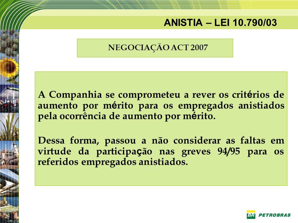 ANISTIA – LEI 10.790/03 NEGOCIAÇÃO ACT 2007 A Companhia se comprometeu a rever os crit é rios de aumento por m é rito para os empregados anistiados pe