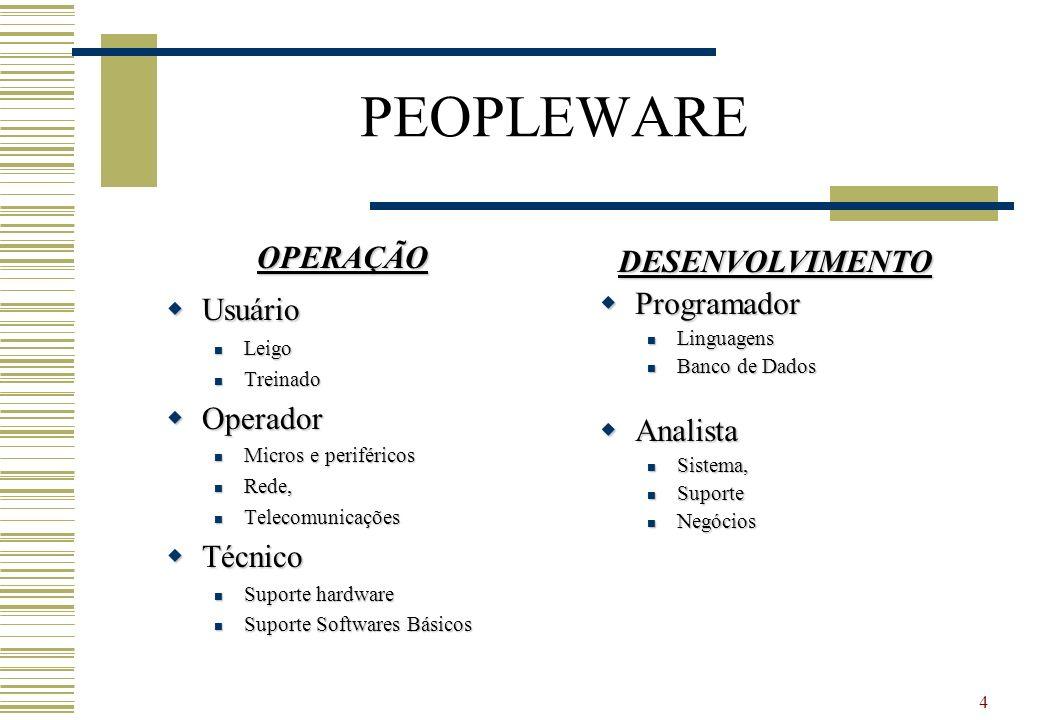 4 PEOPLEWARE OPERAÇÃO Usuário Usuário Leigo Leigo Treinado Treinado Operador Operador Micros e periféricos Micros e periféricos Rede, Rede, Telecomuni