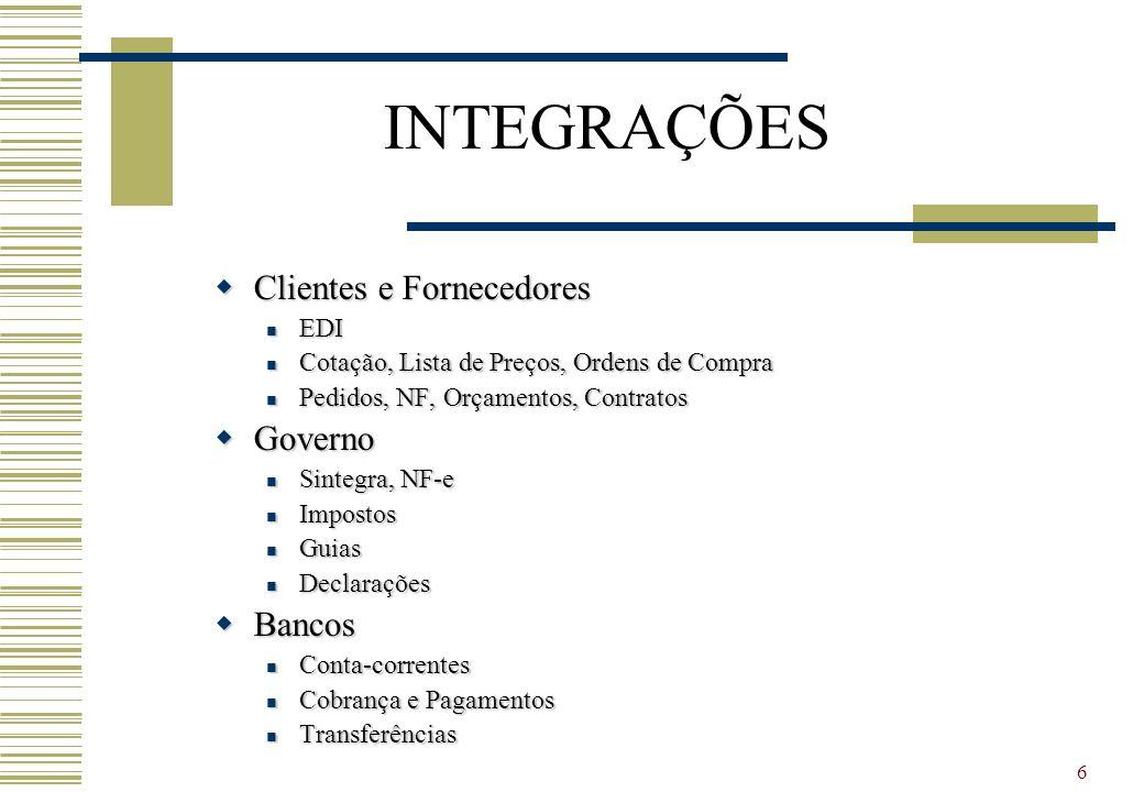 6 INTEGRAÇÕES Clientes e Fornecedores Clientes e Fornecedores EDI EDI Cotação, Lista de Preços, Ordens de Compra Cotação, Lista de Preços, Ordens de C