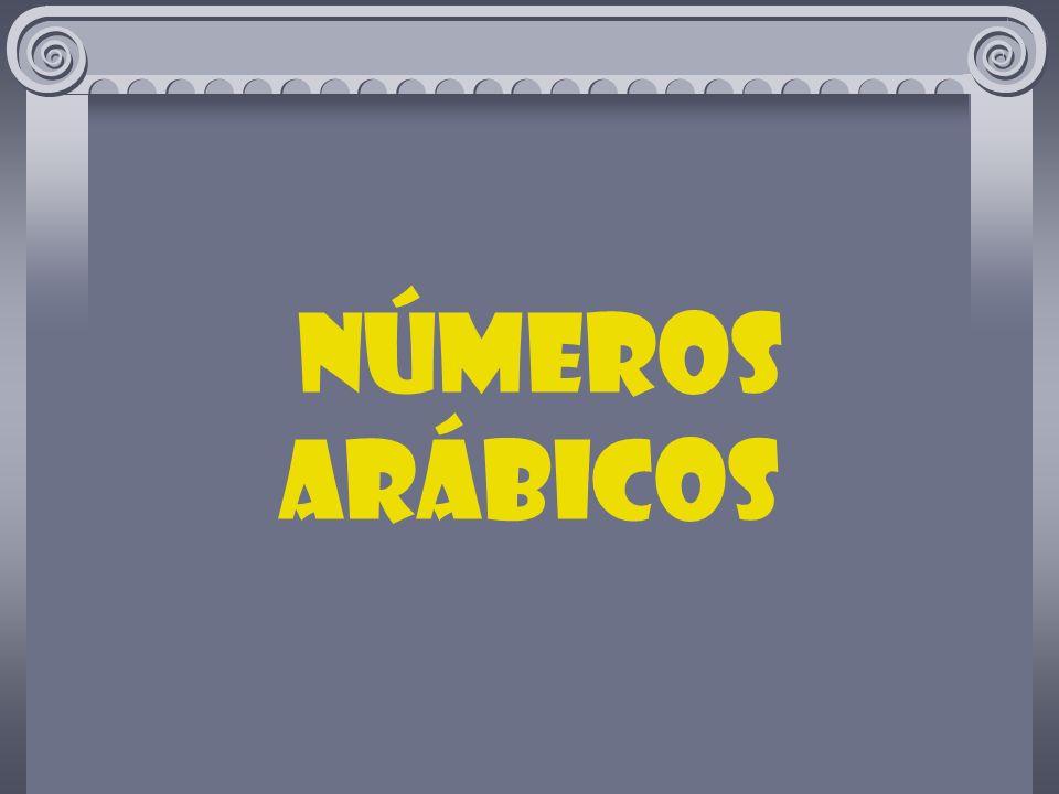 Os números que todos usamos (1,2,3,4, etc.) são llamados números arábicos para distinguí-los dos números romanos (I,II,III,IV,V,VI, etc).
