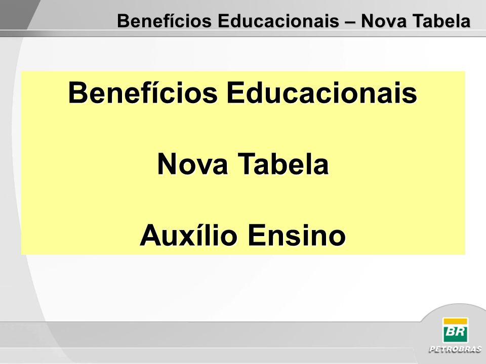 Benefícios Educacionais – Nova Tabela Benefícios Educacionais Nova Tabela Auxílio Ensino