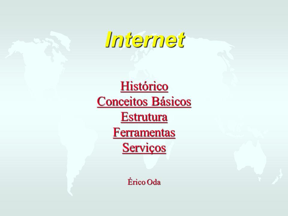 Internet Histórico Conceitos Básicos Estrutura Ferramentas Serviços Histórico Conceitos Básicos Estrutura Ferramentas Serviços Histórico Conceitos Básicos Estrutura Ferramentas Serviços Érico Oda