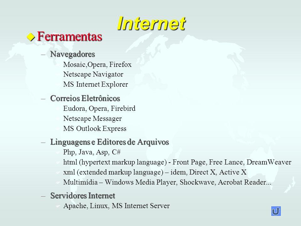 Internet u Ferramentas –Navegadores F F Mosaic,Opera, Firefox F F Netscape Navigator F F MS Internet Explorer –Correios Eletrônicos F F Eudora, Opera, Firebird F F Netscape Messager F F MS Outlook Express –Linguagens e Editores de Arquivos F F Php, Java, Asp, C# F F html (hypertext markup language) - Front Page, Free Lance, DreamWeaver F F xml (extended markup language) – idem, Direct X, Active X F F Multimídia – Windows Media Player, Shockwave, Acrobat Reader...