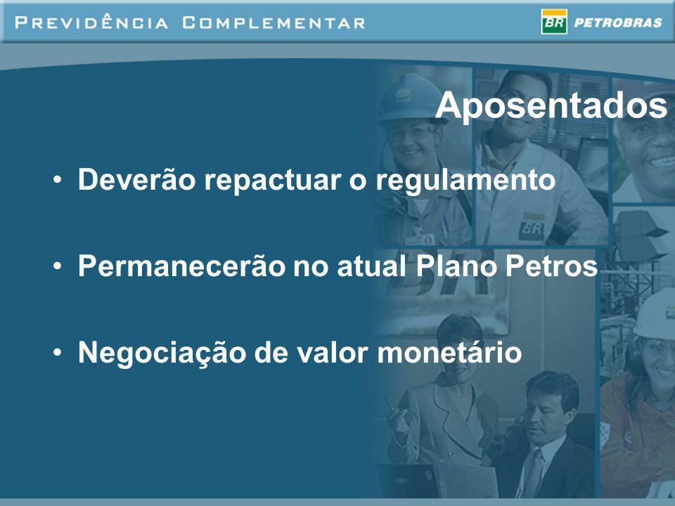 Aposentados Deverão repactuar o regulamento Permanecerão no atual Plano Petros Negociação de valor monetário