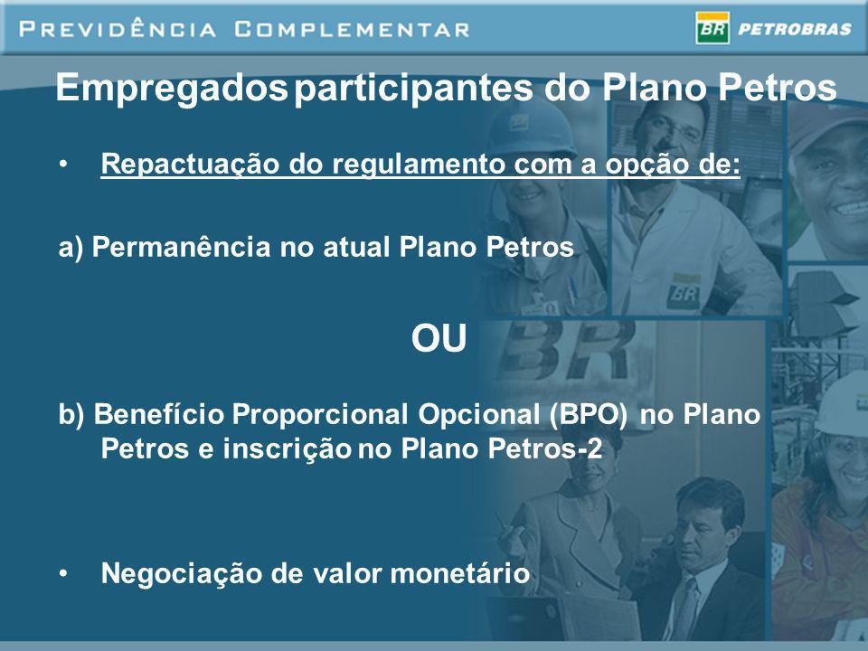 Empregados participantes do Plano Petros Repactuação do regulamento com a opção de: a) Permanência no atual Plano Petros OU b) Benefício Proporcional