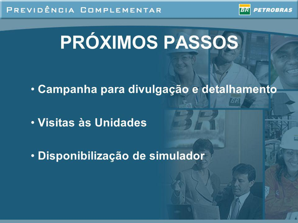 PRÓXIMOS PASSOS Campanha para divulgação e detalhamento Visitas às Unidades Disponibilização de simulador