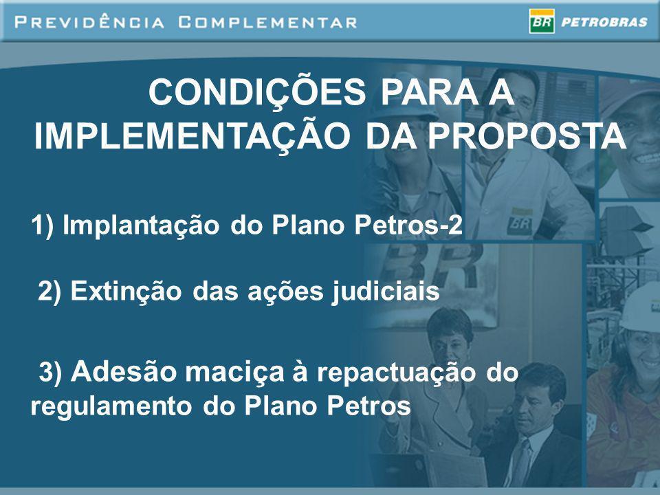 CONDIÇÕES PARA A IMPLEMENTAÇÃO DA PROPOSTA 1) Implantação do Plano Petros-2 2) Extinção das ações judiciais 3) Adesão maciça à repactuação do regulame