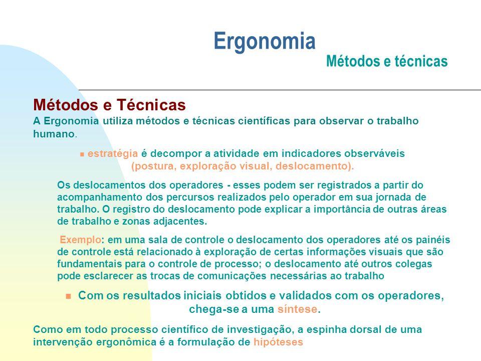 Ergonomia Métodos e técnicas Métodos e Técnicas A Ergonomia utiliza métodos e técnicas científicas para observar o trabalho humano. n estratégia é dec