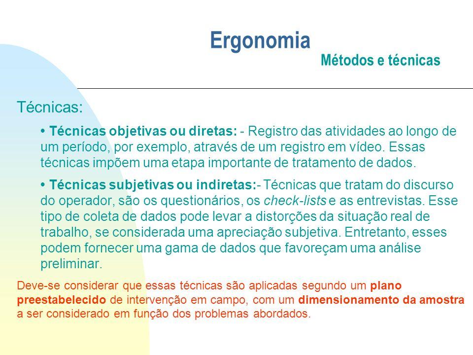 Ergonomia Métodos e técnicas Técnicas: Técnicas objetivas ou diretas: - Registro das atividades ao longo de um período, por exemplo, através de um reg