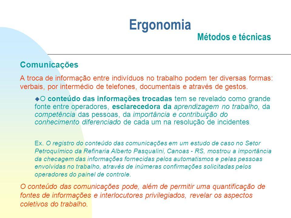 Ergonomia Métodos e técnicas Comunicações A troca de informação entre indivíduos no trabalho podem ter diversas formas: verbais, por intermédio de tel