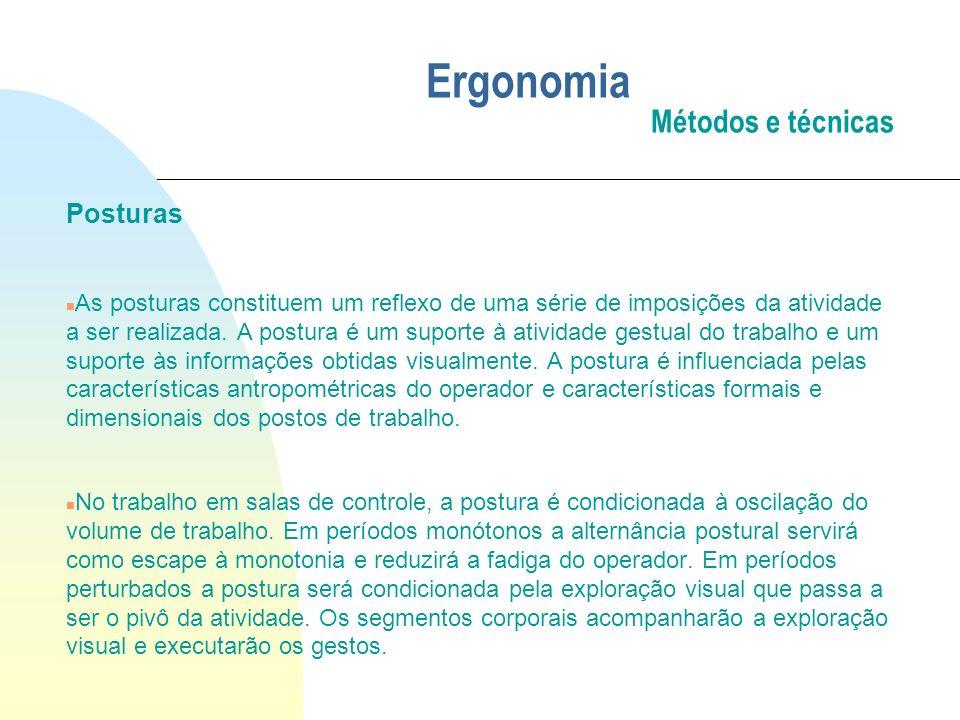 Ergonomia Métodos e técnicas Posturas n As posturas constituem um reflexo de uma série de imposições da atividade a ser realizada. A postura é um supo