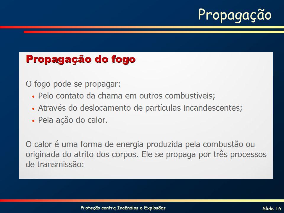 Proteção contra Incêndios e Explosões Slide 16 Propagação