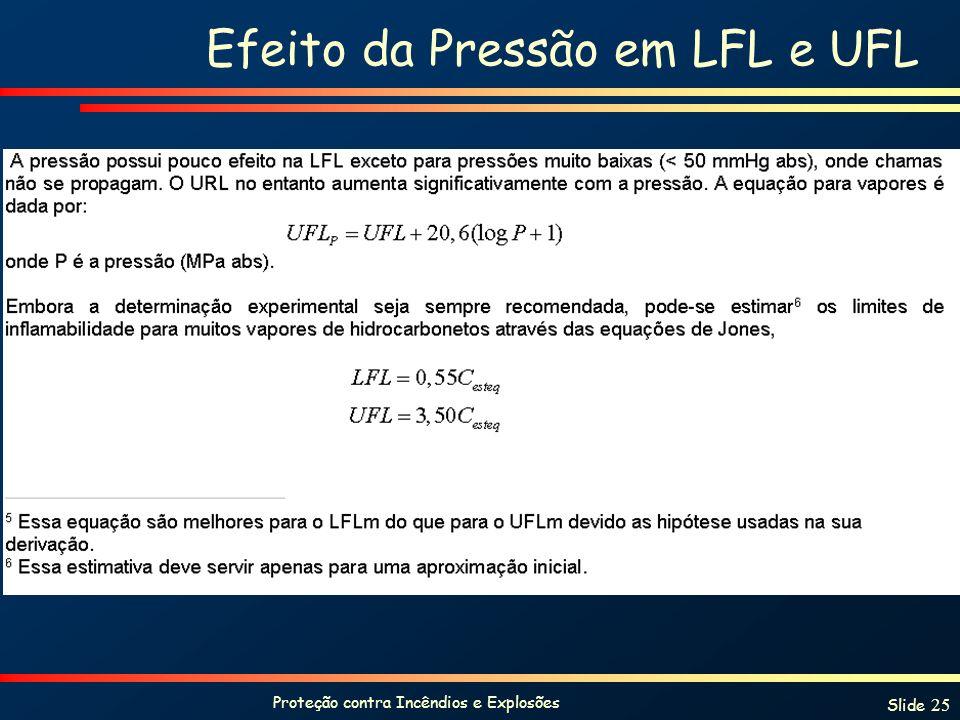 Proteção contra Incêndios e Explosões Slide 25 Efeito da Pressão em LFL e UFL