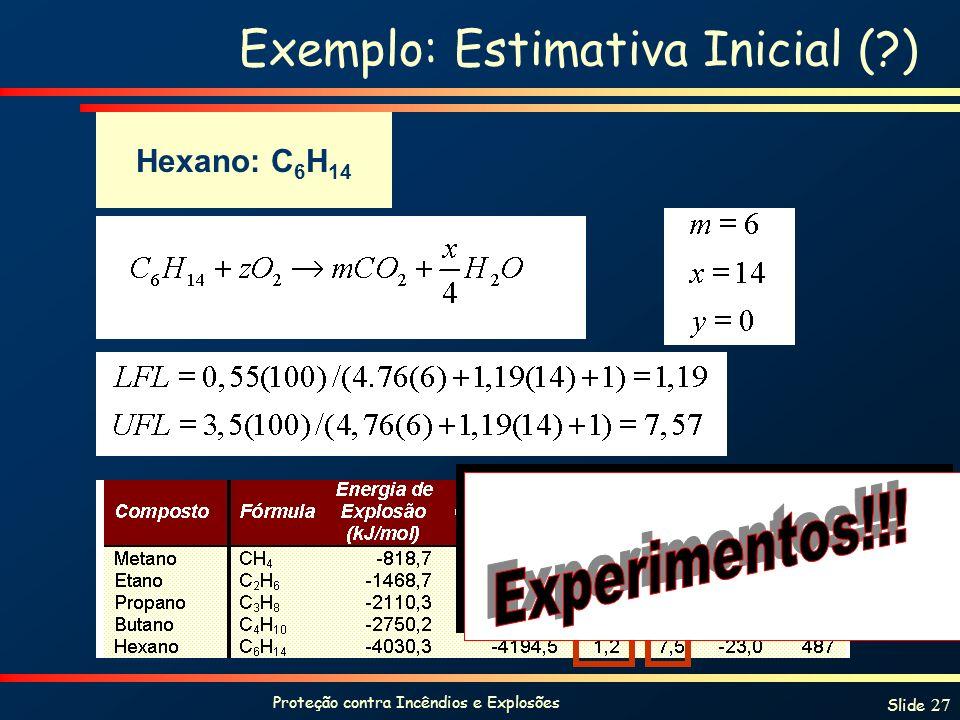 Proteção contra Incêndios e Explosões Slide 27 Exemplo: Estimativa Inicial (?) Hexano: C 6 H 14