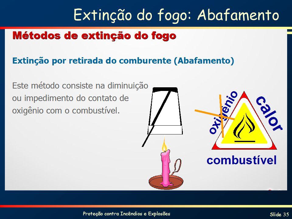 Proteção contra Incêndios e Explosões Slide 35 Extinção do fogo: Abafamento