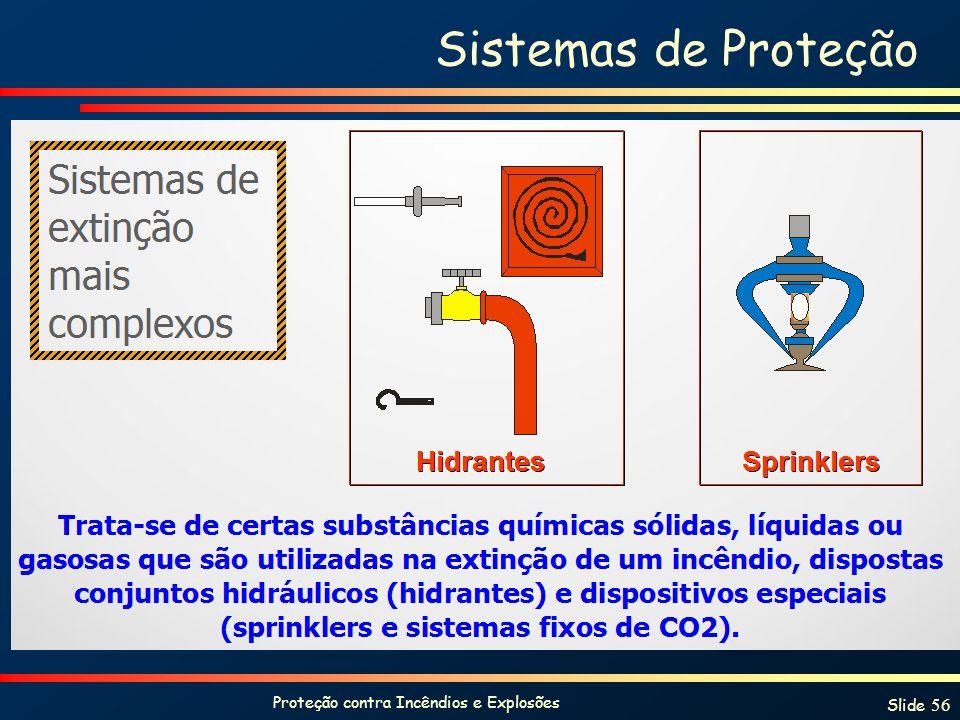 Proteção contra Incêndios e Explosões Slide 56 Sistemas de Proteção