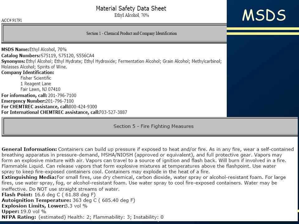 Proteção contra Incêndios e Explosões Slide 66 MSDS