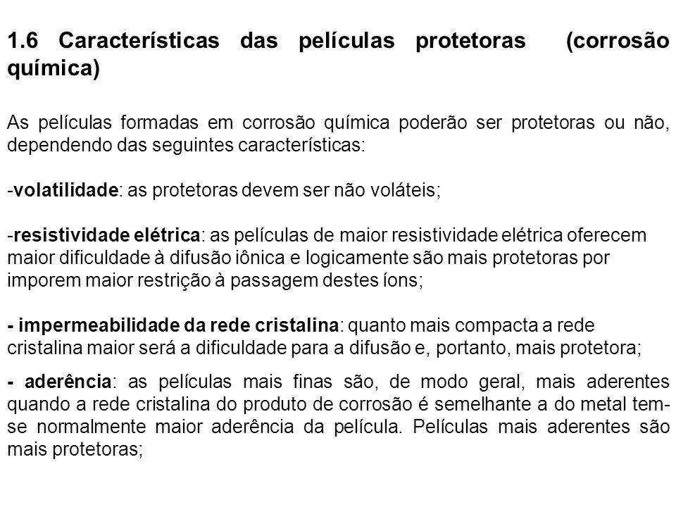 1.6 Características das películas protetoras (corrosão química) As películas formadas em corrosão química poderão ser protetoras ou não, dependendo da