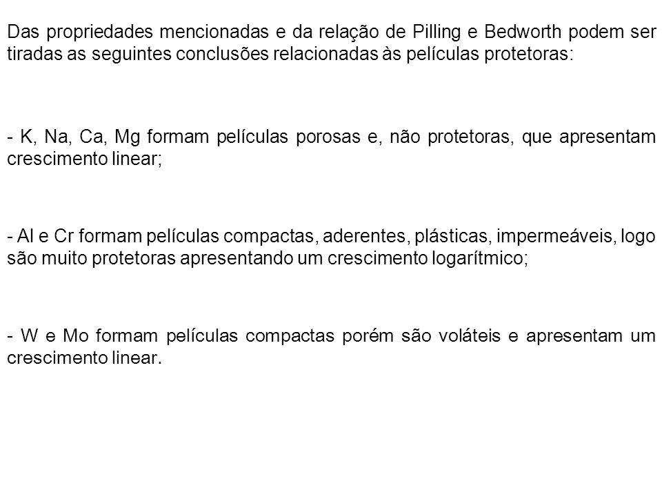 Das propriedades mencionadas e da relação de Pilling e Bedworth podem ser tiradas as seguintes conclusões relacionadas às películas protetoras: - K, N