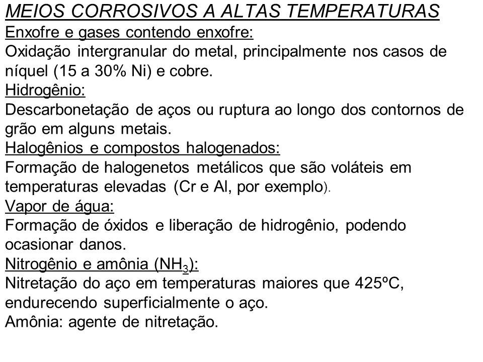 MEIOS CORROSIVOS A ALTAS TEMPERATURAS Enxofre e gases contendo enxofre: Oxidação intergranular do metal, principalmente nos casos de níquel (15 a 30%