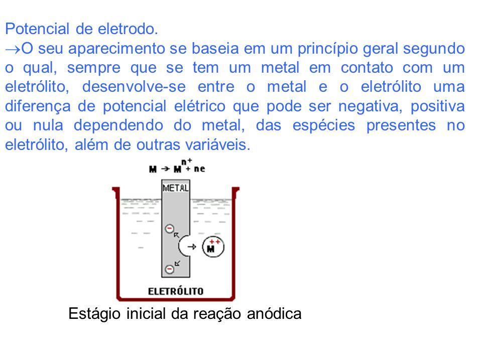 Potencial de eletrodo. O seu aparecimento se baseia em um princípio geral segundo o qual, sempre que se tem um metal em contato com um eletrólito, des
