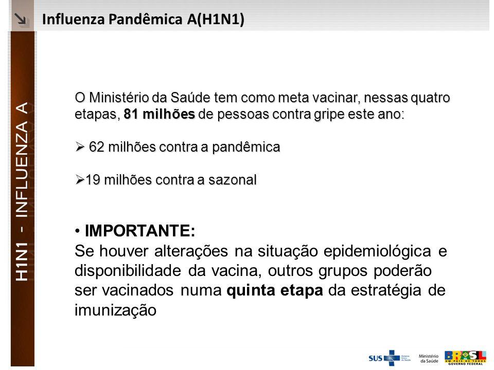 Ministério da Saúde Influenza Pandêmica A(H1N1) O Ministério da Saúde tem como meta vacinar, nessas quatro etapas, 81 milhões de pessoas contra gripe este ano: 62 milhões contra a pandêmica 62 milhões contra a pandêmica 19 milhões contra a sazonal 19 milhões contra a sazonal IMPORTANTE: Se houver alterações na situação epidemiológica e disponibilidade da vacina, outros grupos poderão ser vacinados numa quinta etapa da estratégia de imunização