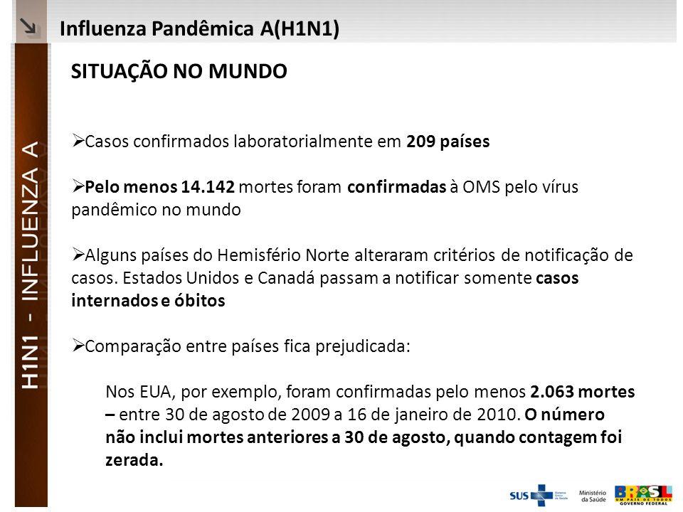 Ministério da Saúde SITUAÇÃO NO MUNDO Casos confirmados laboratorialmente em 209 países Pelo menos 14.142 mortes foram confirmadas à OMS pelo vírus pandêmico no mundo Alguns países do Hemisfério Norte alteraram critérios de notificação de casos.
