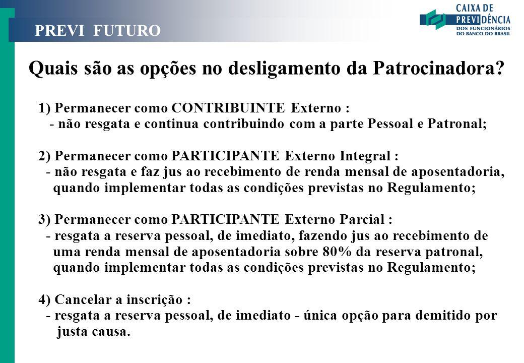 PREVI FUTURO Quais são as opções no desligamento da Patrocinadora? 1) Permanecer como CONTRIBUINTE Externo : - não resgata e continua contribuindo com