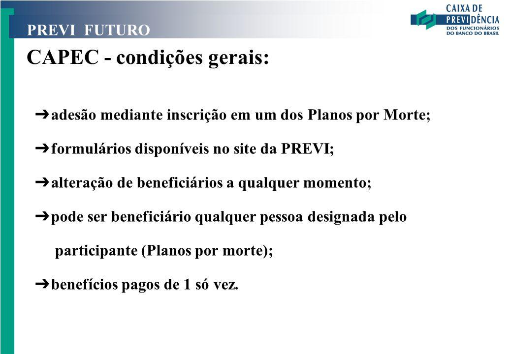 PREVI FUTURO CAPEC - condições gerais: Ô adesão mediante inscrição em um dos Planos por Morte; Ô formulários disponíveis no site da PREVI; Ô alteração