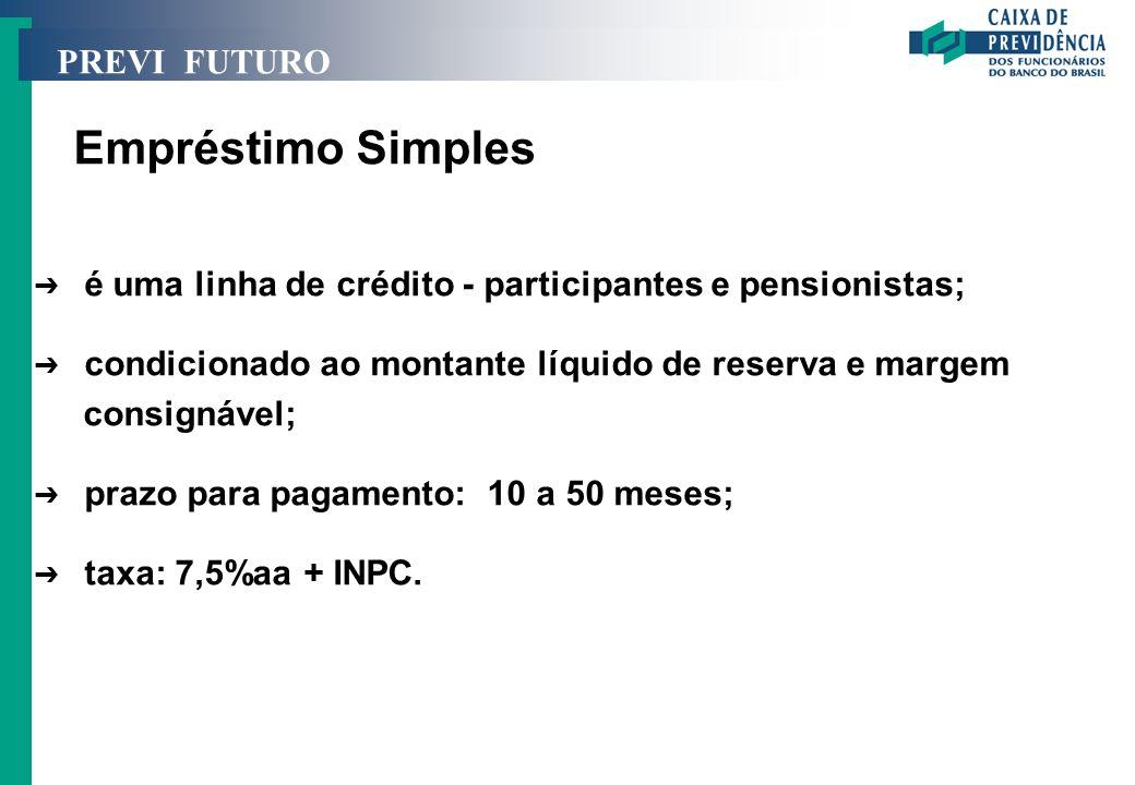 PREVI FUTURO Empréstimo Simples Ô é uma linha de crédito - participantes e pensionistas; Ô condicionado ao montante líquido de reserva e margem consig