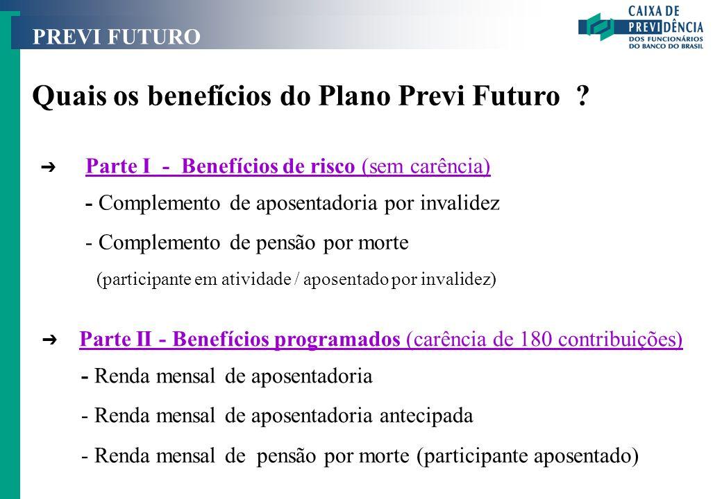 PREVI FUTURO Quais os benefícios do Plano Previ Futuro ? Ô Parte I - Benefícios de risco (sem carência) Parte I - Benefícios de risco (sem carência) -