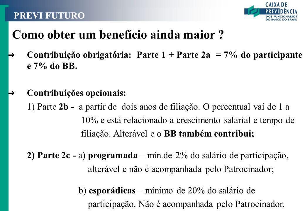 PREVI FUTURO Como obter um benefício ainda maior ? Ô Contribuição obrigatória: Parte 1 + Parte 2a = 7% do participante e 7% do BB. Ô Contribuições opc