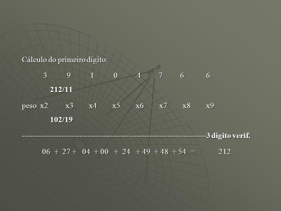 Cálculo do primeiro digito: 3 9 1 0 4 7 6 6 212/11 3 9 1 0 4 7 6 6 212/11 peso x2 x3 x4 x5 x6 x7 x8 x9 102/19 ----------------------------------------
