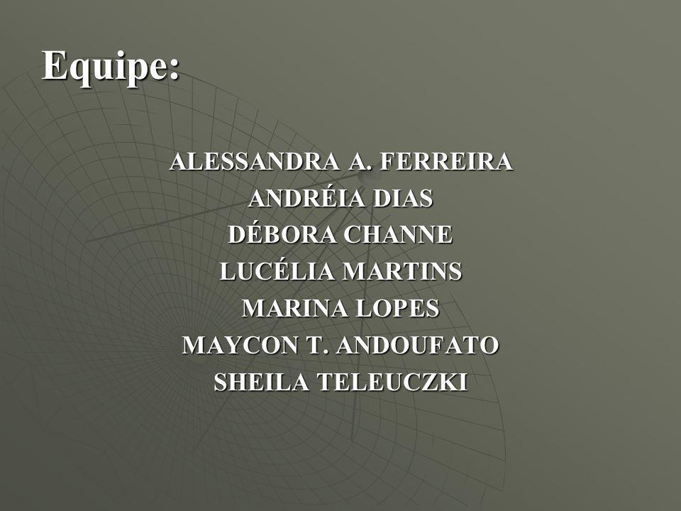 Equipe: ALESSANDRA A. FERREIRA ANDRÉIA DIAS DÉBORA CHANNE LUCÉLIA MARTINS MARINA LOPES MAYCON T. ANDOUFATO SHEILA TELEUCZKI