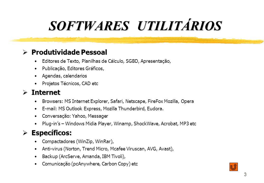 3 SOFTWARES UTILITÁRIOS Produtividade Pessoal Produtividade Pessoal Editores de Texto, Planilhas de Cálculo, SGBD, Apresentação, Publicação, Editores