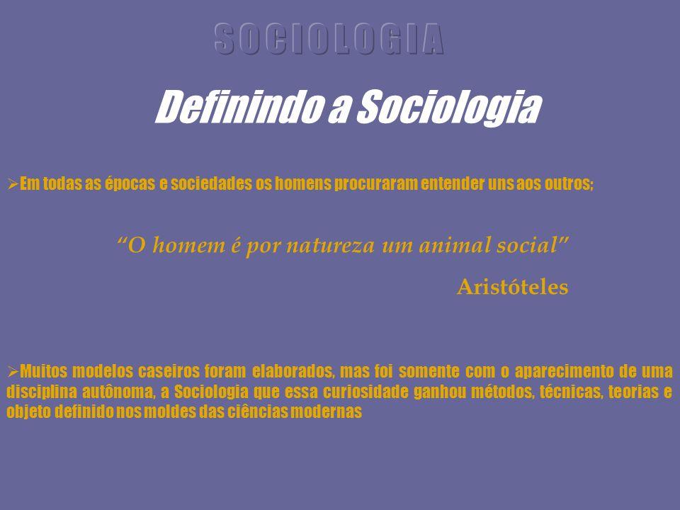 Definindo a Sociologia Em todas as épocas e sociedades os homens procuraram entender uns aos outros; Muitos modelos caseiros foram elaborados, mas foi