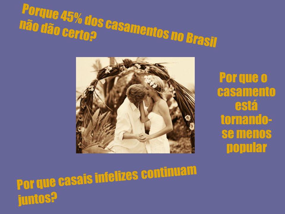 Por que o casamento está tornando- se menos popular Porque 45% dos casamentos no Brasil não dão certo? Por que casais infelizes continuam juntos?
