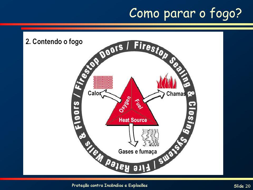 Proteção contra Incêndios e Explosões Slide 20 Como parar o fogo?
