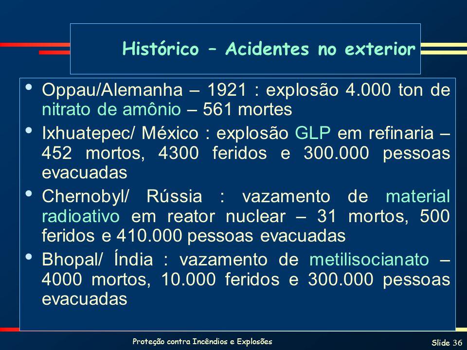 Proteção contra Incêndios e Explosões Slide 36 Histórico – Acidentes no exterior Oppau/Alemanha – 1921 : explosão 4.000 ton de nitrato de amônio – 561