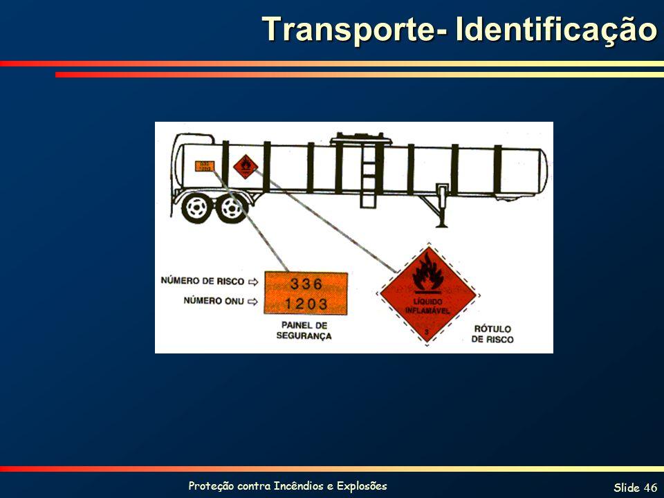 Proteção contra Incêndios e Explosões Slide 46 Transporte- Identificação