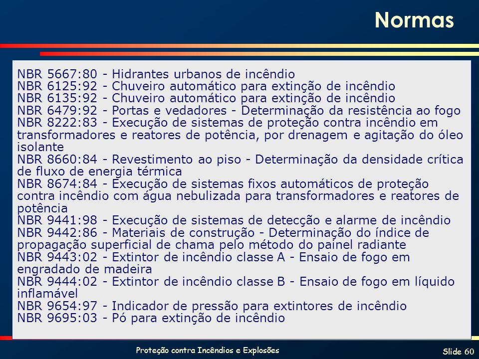 Proteção contra Incêndios e Explosões Slide 60 NBR 5667:80 - Hidrantes urbanos de incêndio NBR 6125:92 - Chuveiro automático para extinção de incêndio