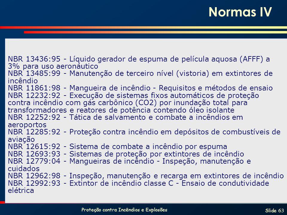 Proteção contra Incêndios e Explosões Slide 63 NBR 13436:95 - Líquido gerador de espuma de película aquosa (AFFF) a 3% para uso aeronáutico NBR 13485:
