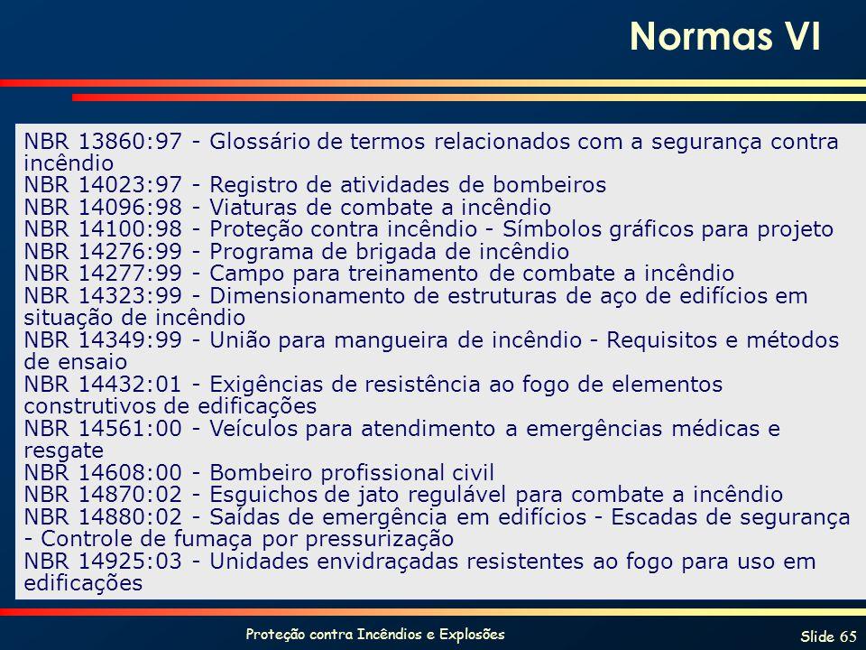 Proteção contra Incêndios e Explosões Slide 65 NBR 13860:97 - Glossário de termos relacionados com a segurança contra incêndio NBR 14023:97 - Registro