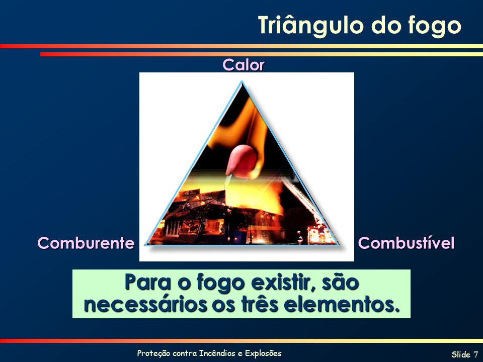 Proteção contra Incêndios e Explosões Slide 7 Triângulo do fogo Para o fogo existir, são necessários os três elementos. Calor ComburenteCombustível