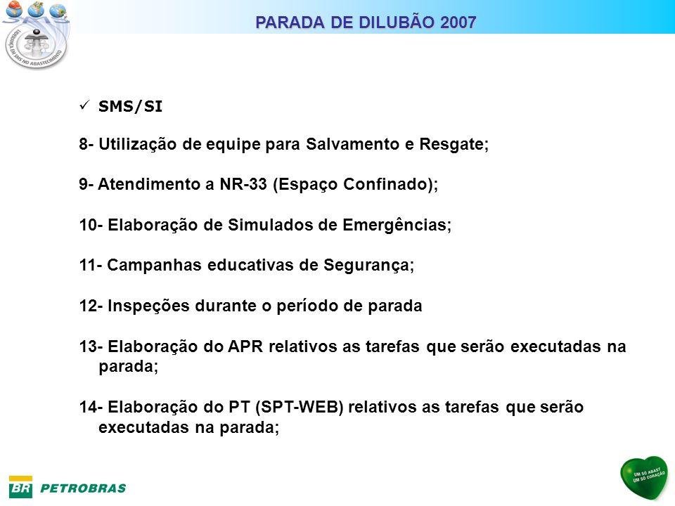 SMS/SI 8- Utilização de equipe para Salvamento e Resgate; 9- Atendimento a NR-33 (Espaço Confinado); 10- Elaboração de Simulados de Emergências; 11- C