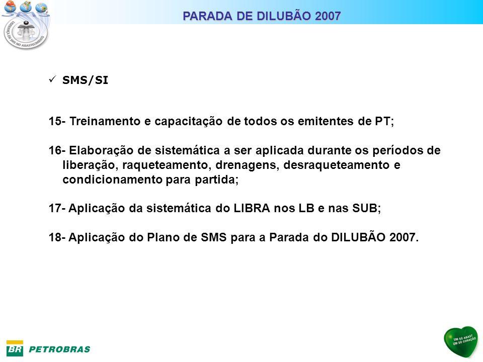 SMS/SI 15- Treinamento e capacitação de todos os emitentes de PT; 16- Elaboração de sistemática a ser aplicada durante os períodos de liberação, raque