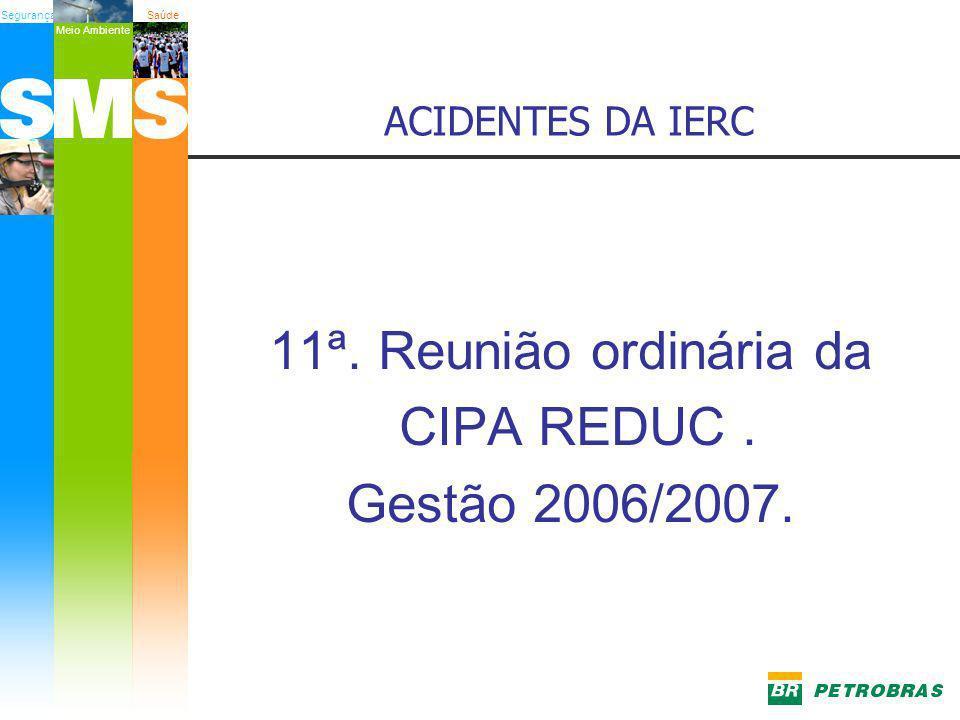 SegurançaSaúde Meio Ambiente ACIDENTES DA IERC 11ª. Reunião ordinária da CIPA REDUC. Gestão 2006/2007.