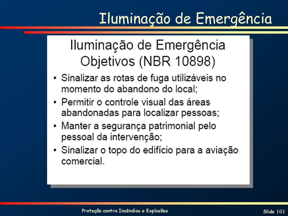 Proteção contra Incêndios e Explosões Slide 101 Iluminação de Emergência